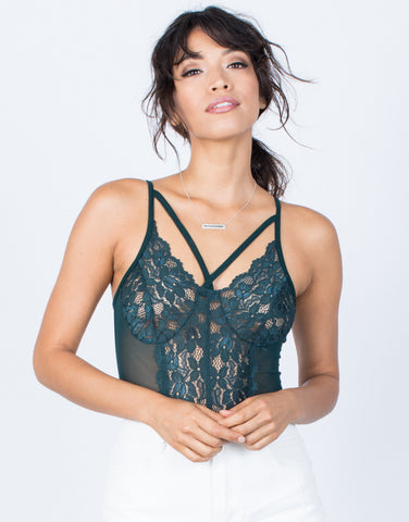 Hunter Green Sheer Beauty Bodysuit - Front VIew