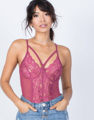 Mauve Pink Sheer Beauty Bodysuit - Front View