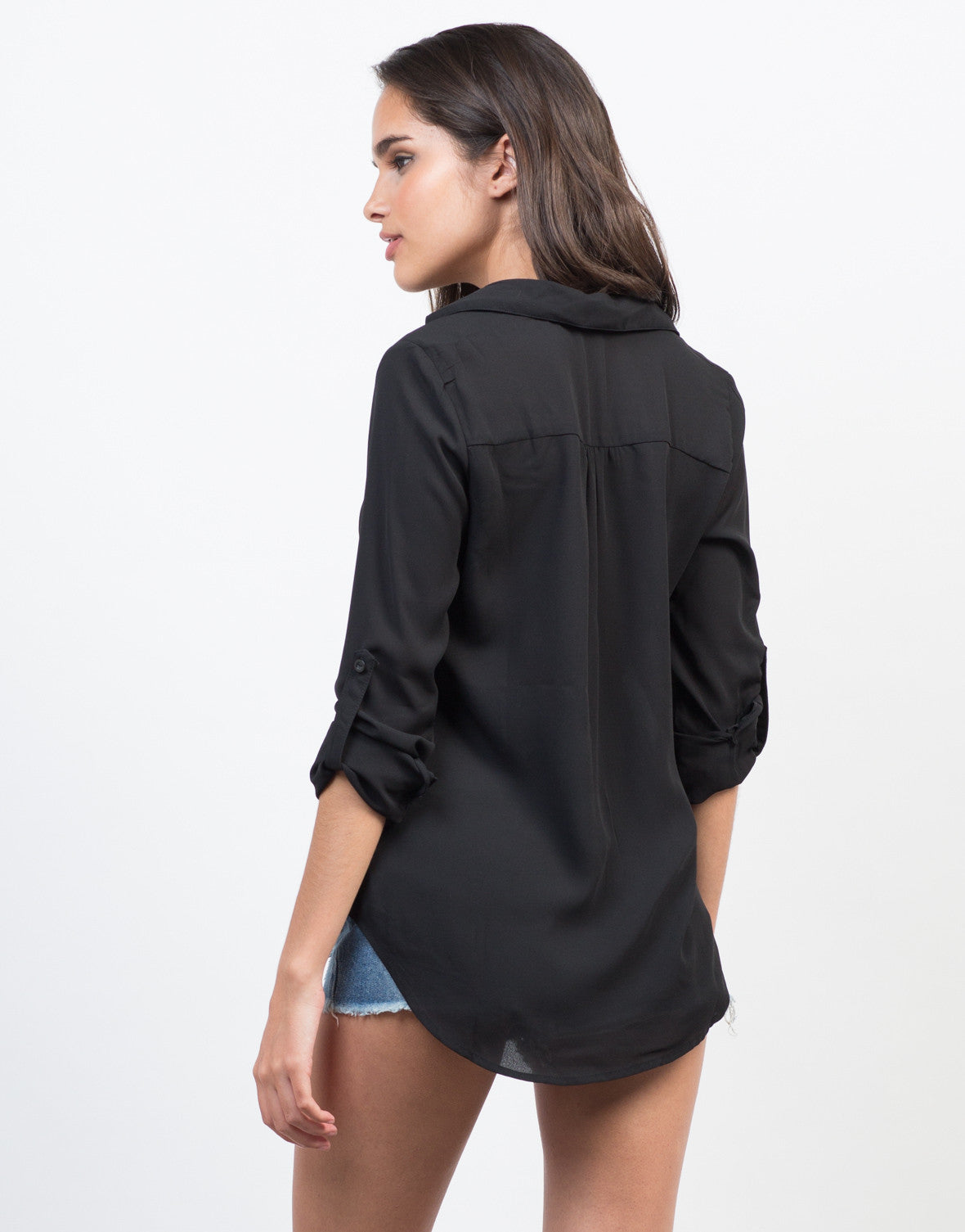Back View of Sheer Collar Lace-Up Shirt