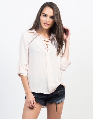 Front View of Sheer Collar Lace-Up Shirt