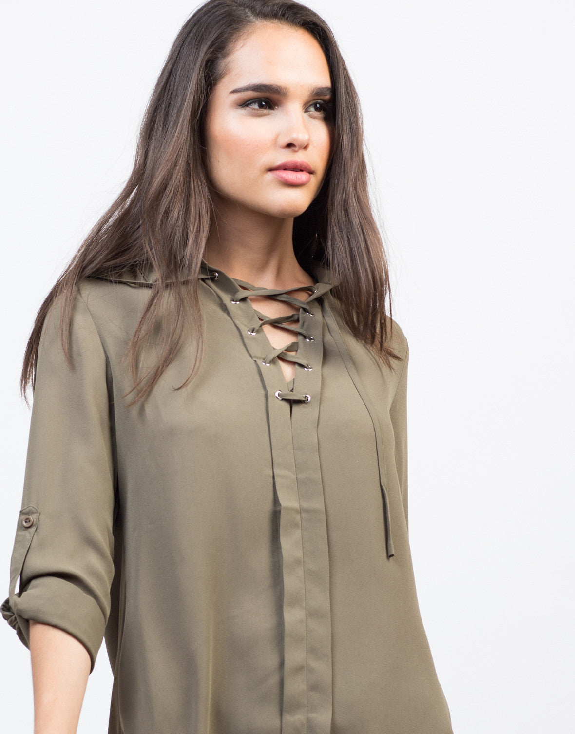 Detail of Sheer Collar Lace-Up Shirt