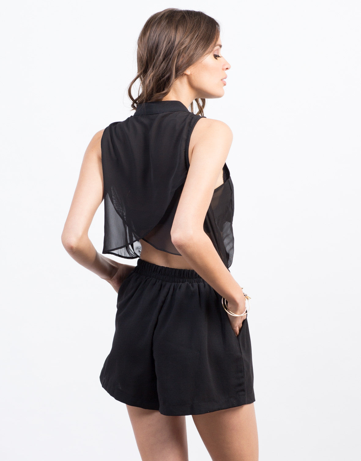 Back View of Sheer Contrast Sleeveless Romper