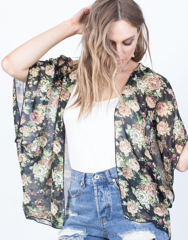 Detail of Sheer into Floral Cardigan