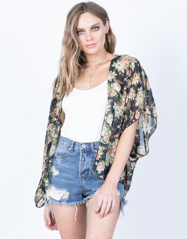 Front View of Sheer into Floral Cardigan