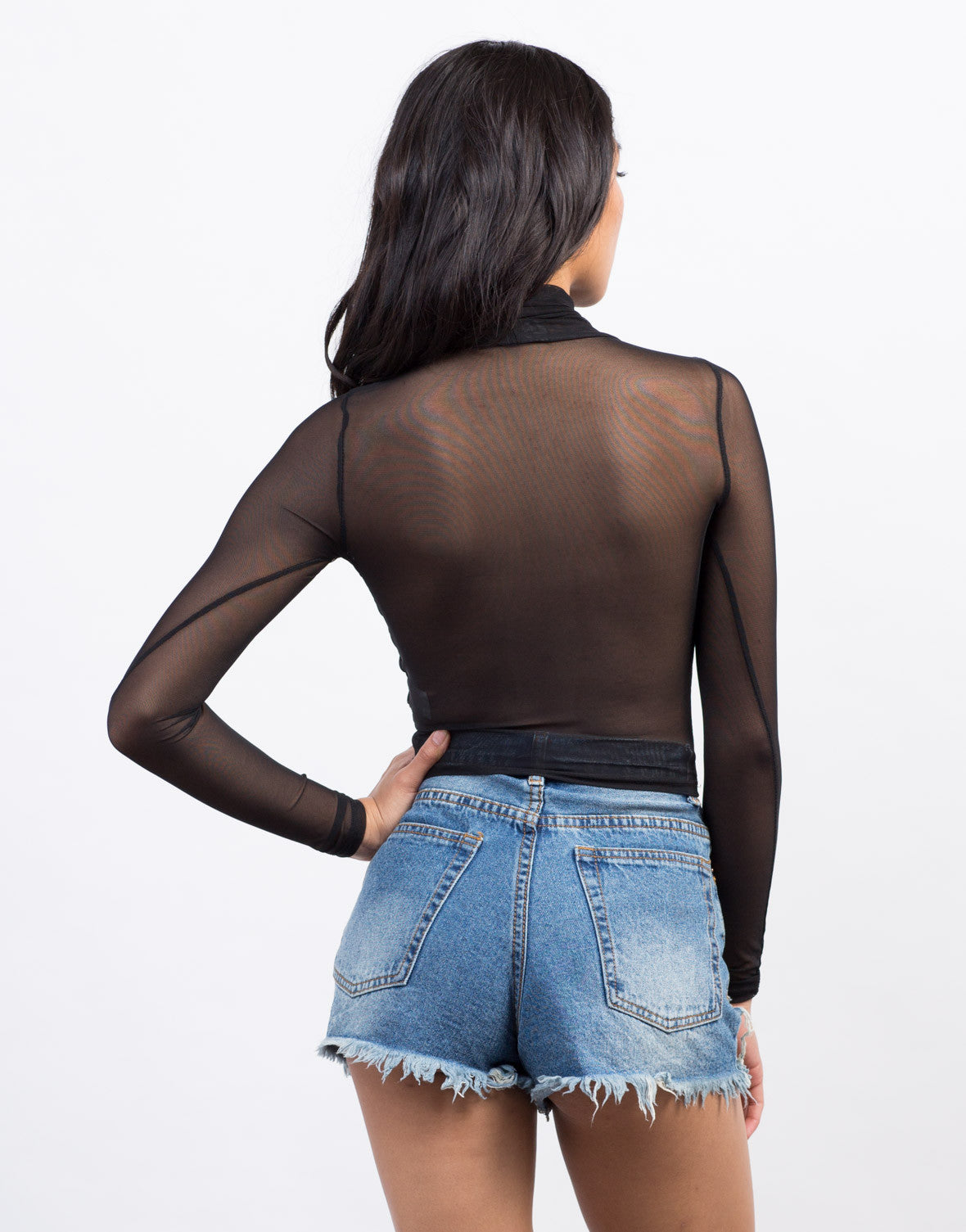 Sheer Mesh Crossed Top - 2020AVE