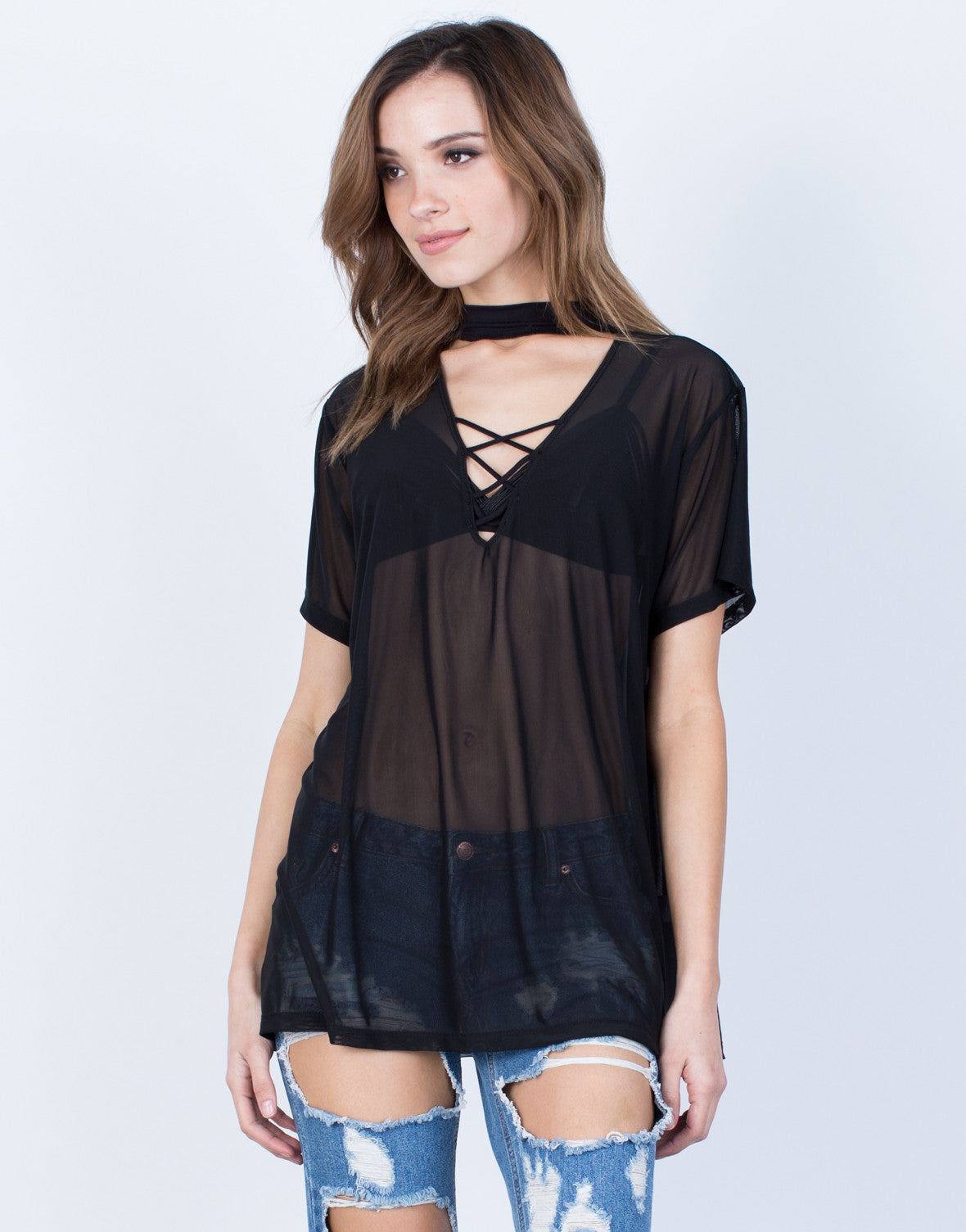 Front View of Sheer Mesh Tee