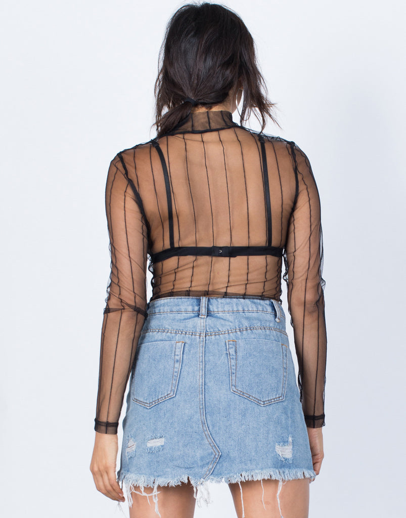 Back  View of Sheer Nights Out Bodysuit