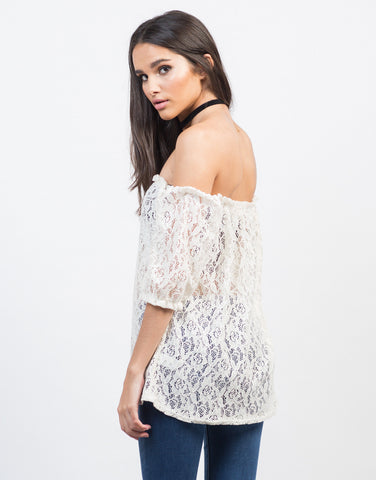 Back View of Sheer Off-the-Shoulder Crochet Top