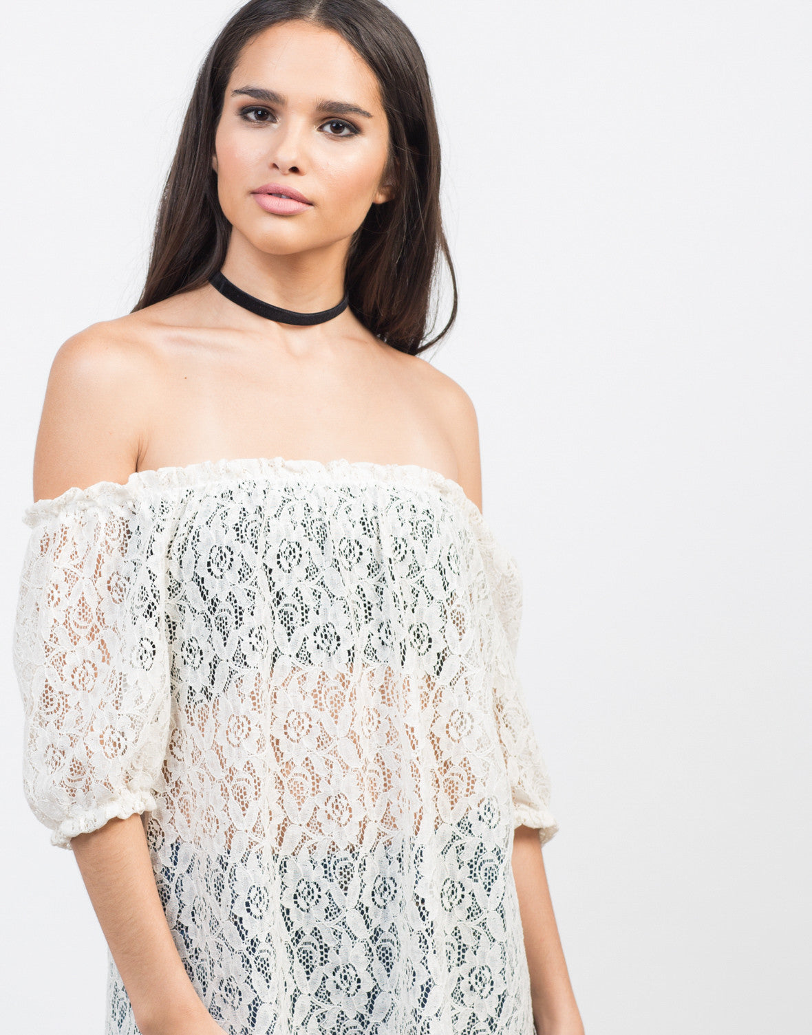 Detail of Sheer Off-the-Shoulder Crochet Top