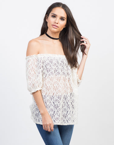 Front View of Sheer Off-the-Shoulder Crochet Top