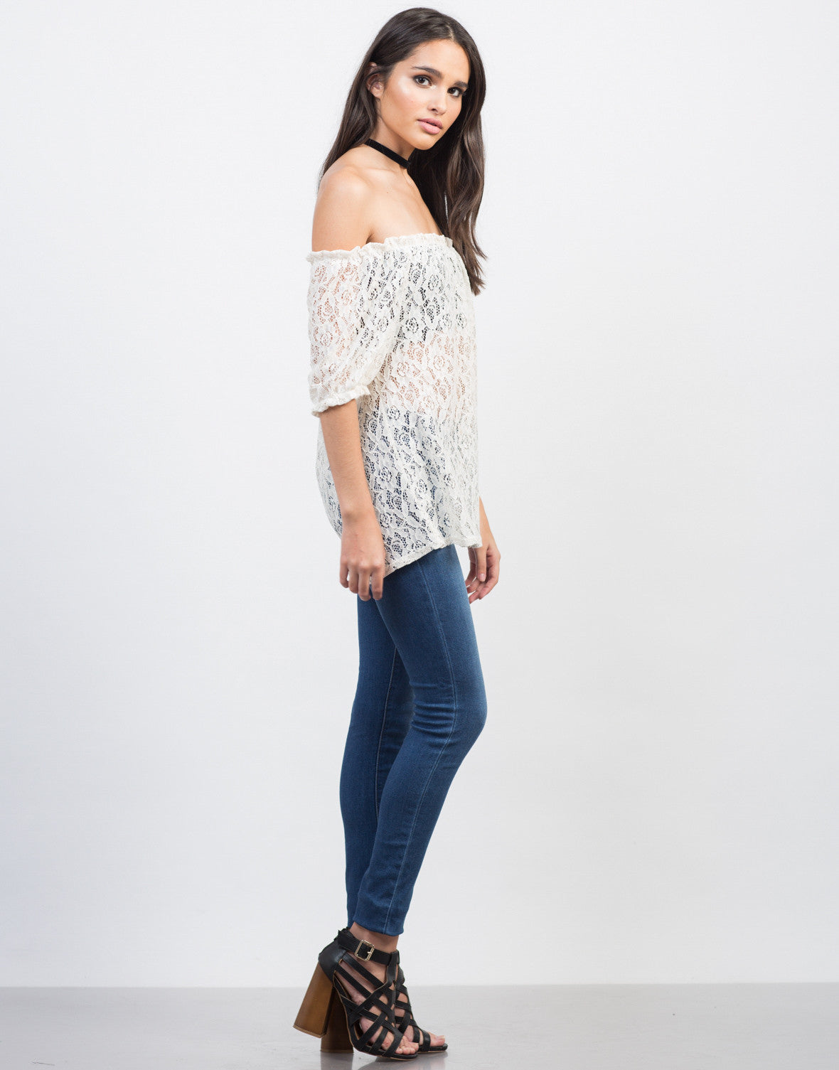 Side View of Sheer Off-the-Shoulder Crochet Top