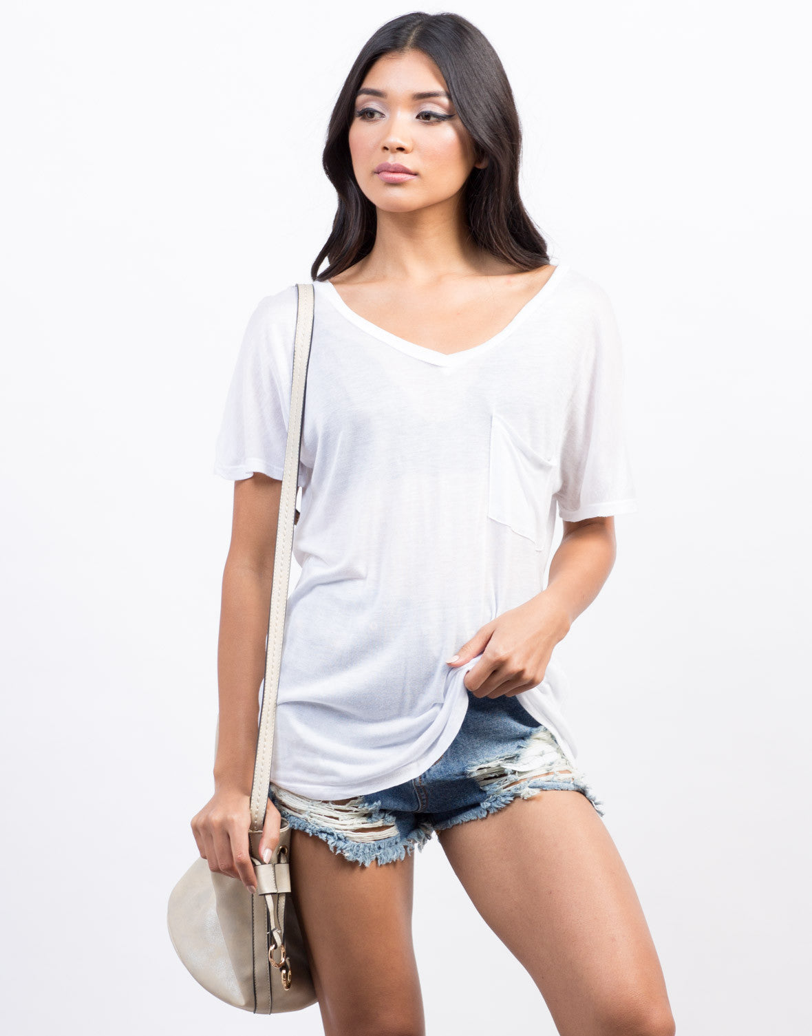 Front View of Sheer Pocket Basic Tee