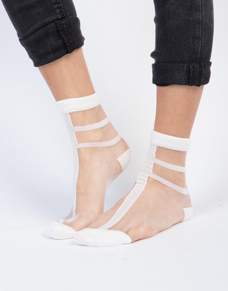 Sheer Striped Ankle Socks - 2020AVE