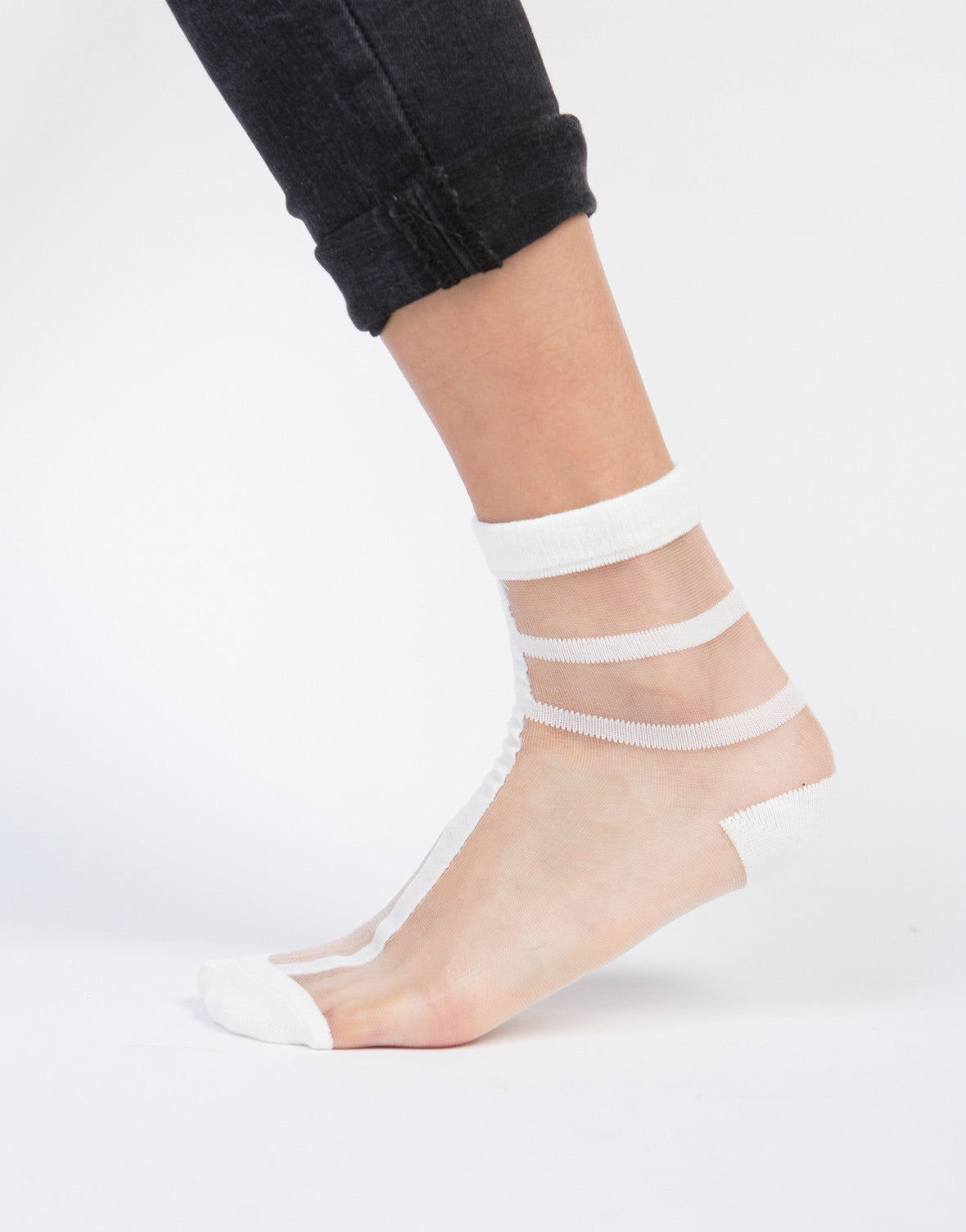 Sheer Striped Ankle Socks