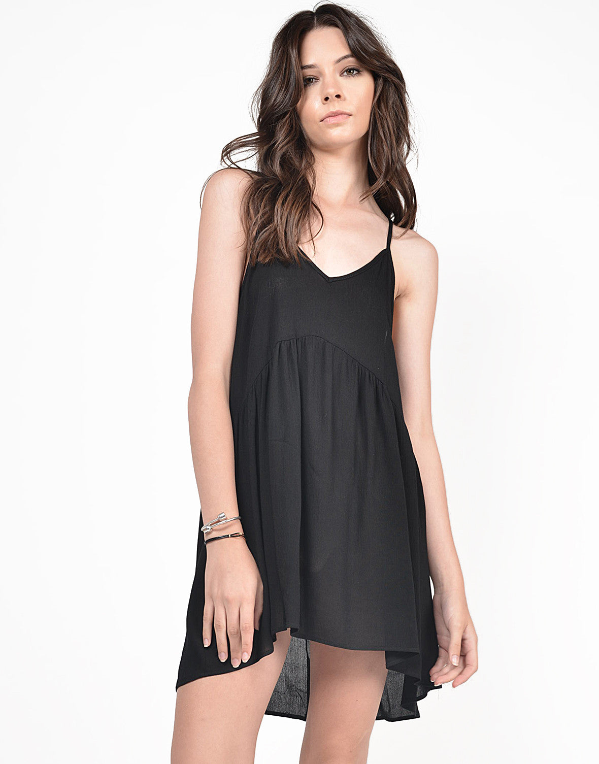 Front View of Sheer Cami Babydoll Dress