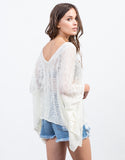 Back View of Sheer Knit Poncho Top