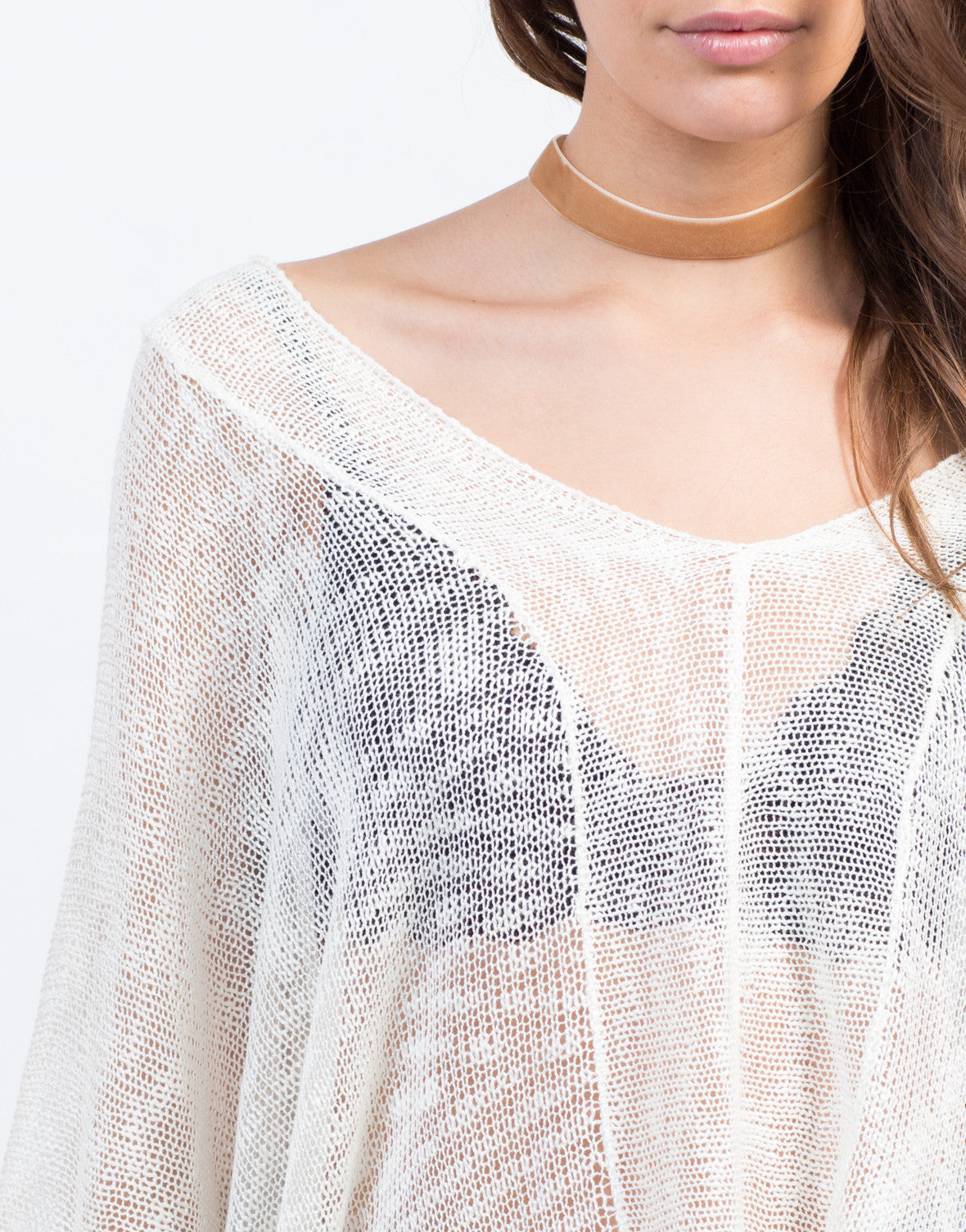 Detail of Sheer Knit Poncho Top