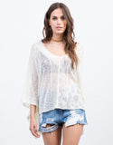 Front View of Sheer Knit Poncho Top
