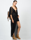 Front View of Sheer Knotted Shirt Dress