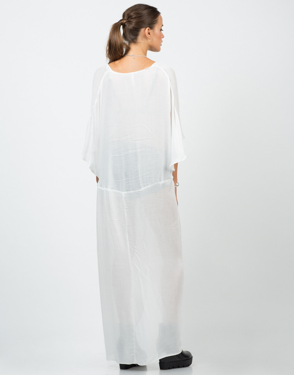 Back View of Sheer Knotted Shirt Dress