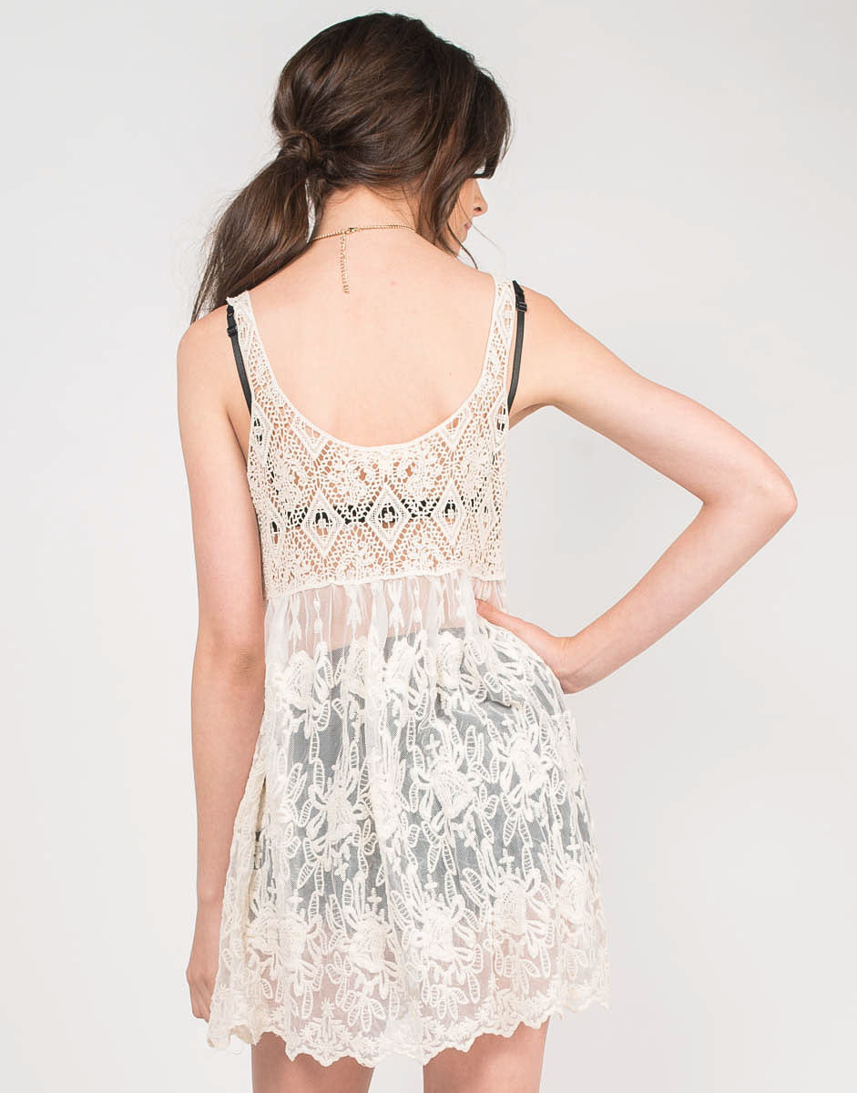 Back View of Sheer Lacey Cover-Up Dress