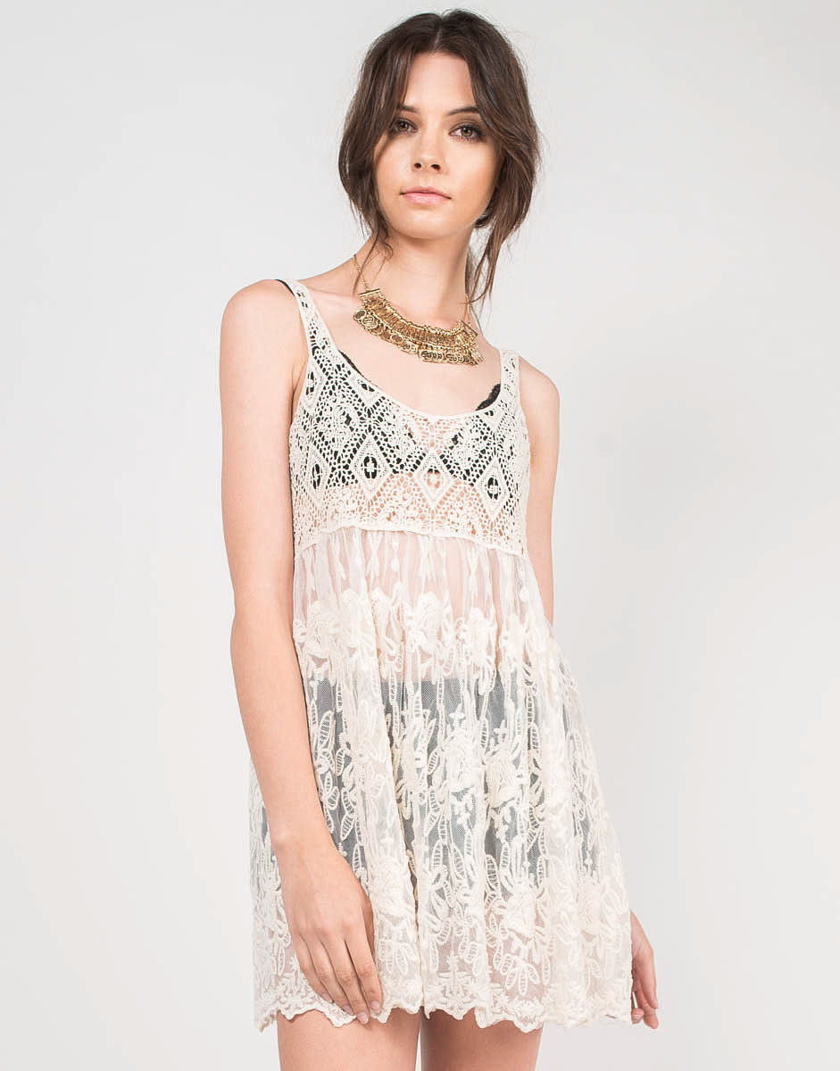 Front View of Sheer Lacey Cover-Up Dress