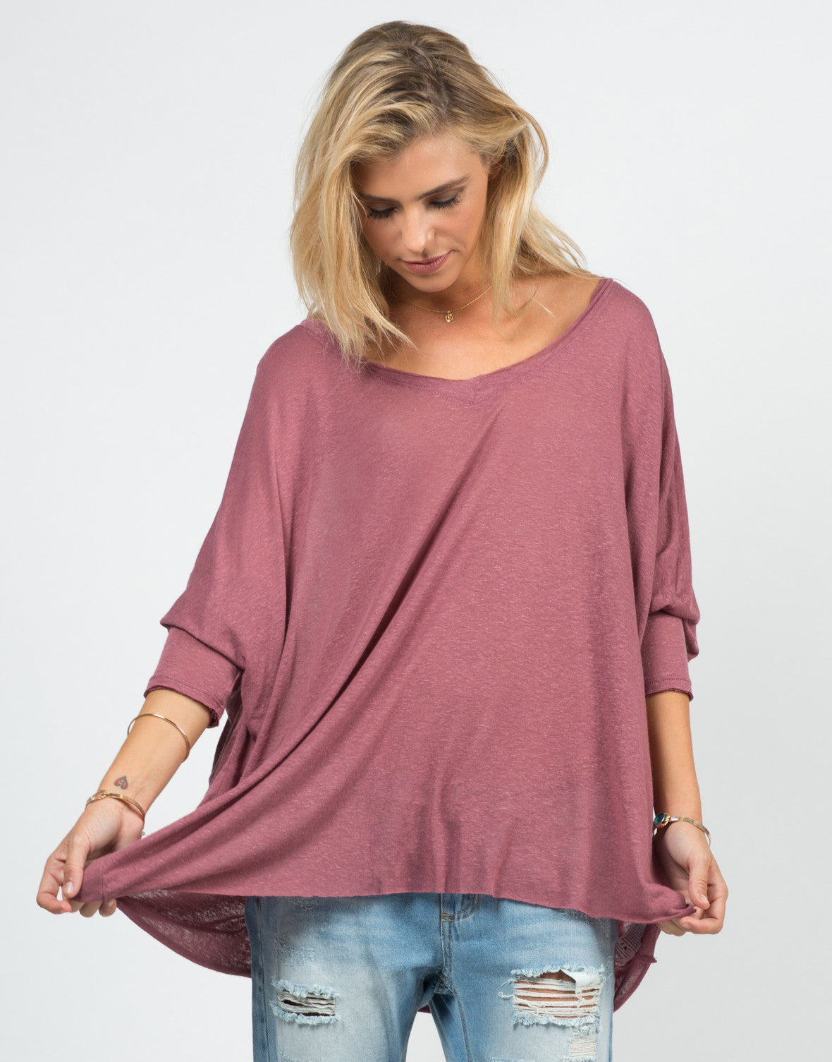 Front View of Sheer Loose Dolman Top