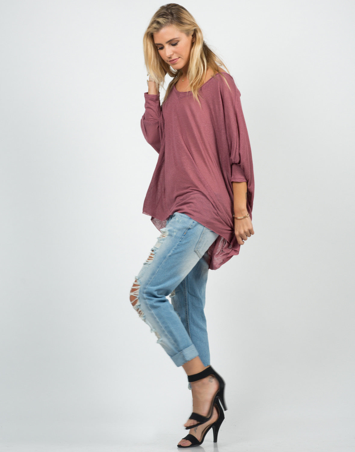 Side View of Sheer Loose Dolman Top