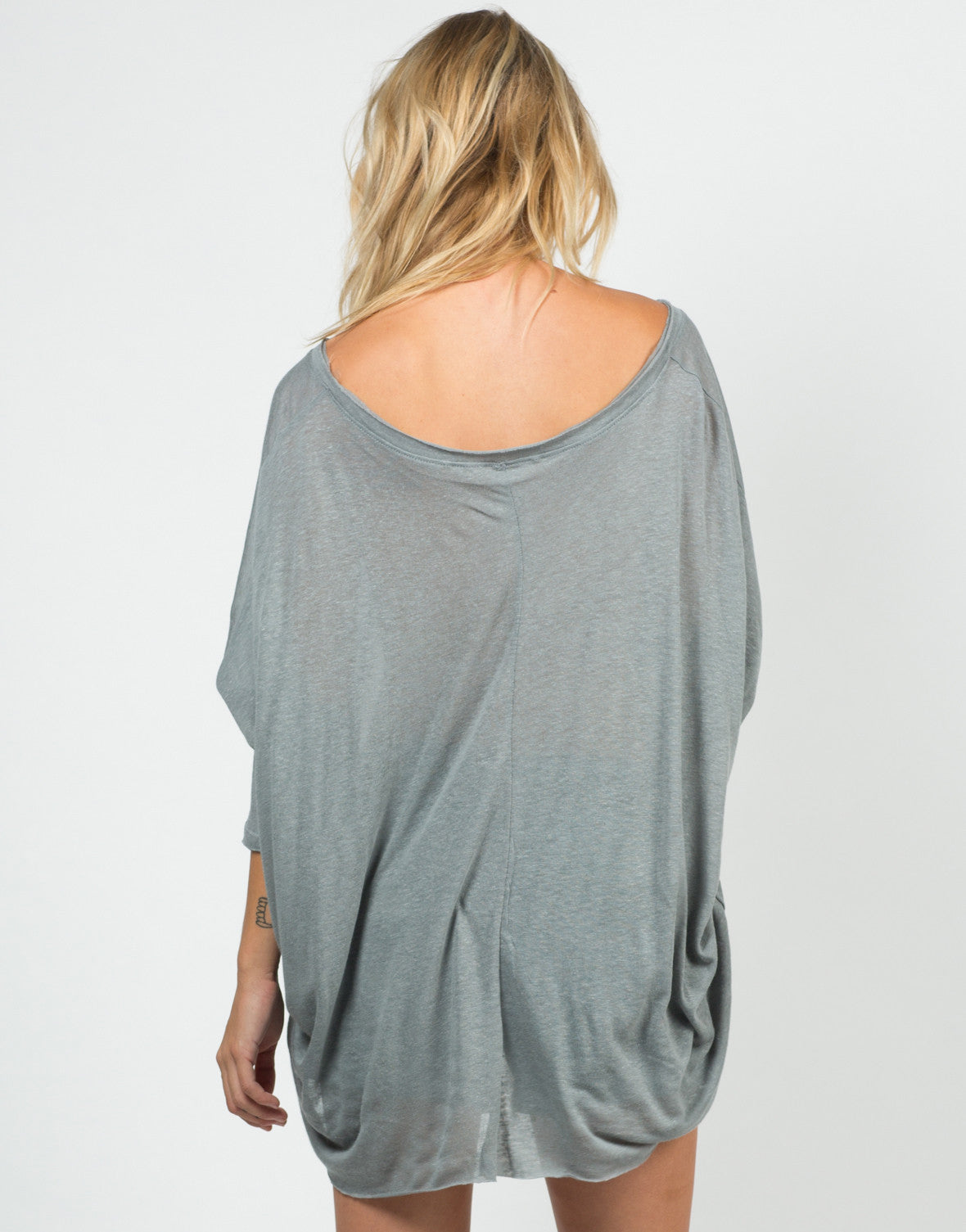 Back View of Sheer Loose Dolman Top