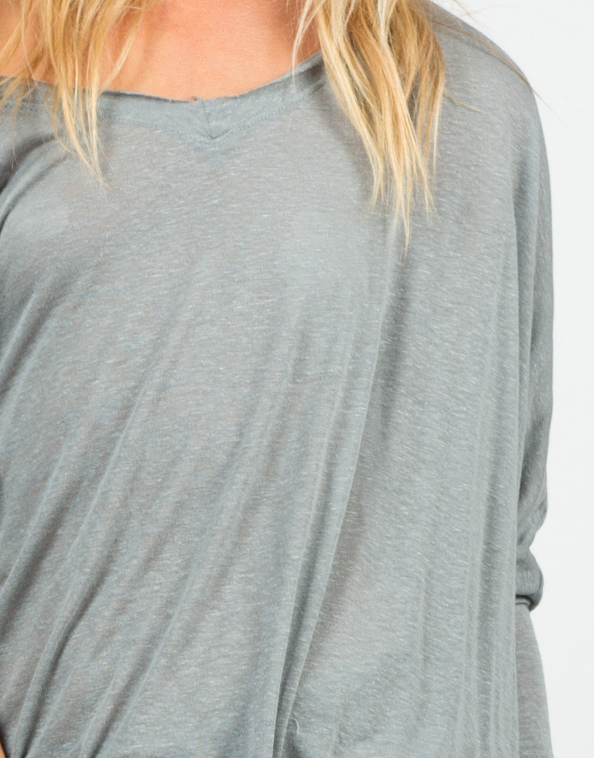 Detail of Sheer Loose Dolman Top