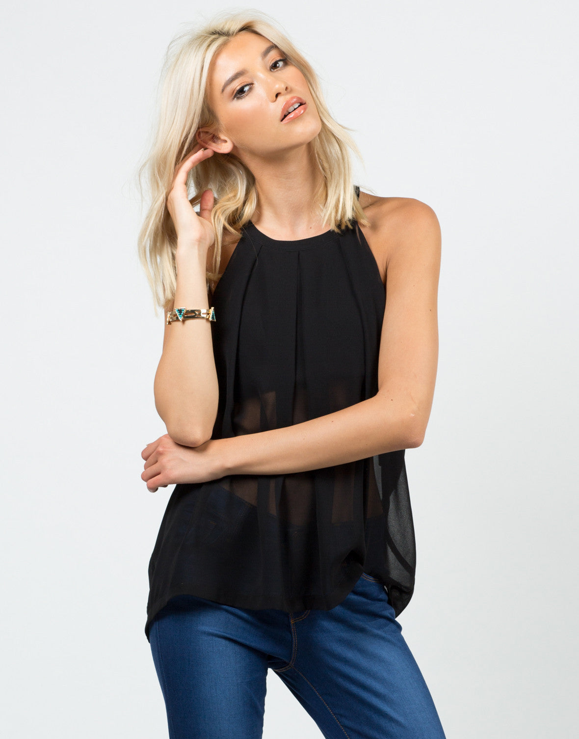 Front View of Sheer Overlay Cropped Tank