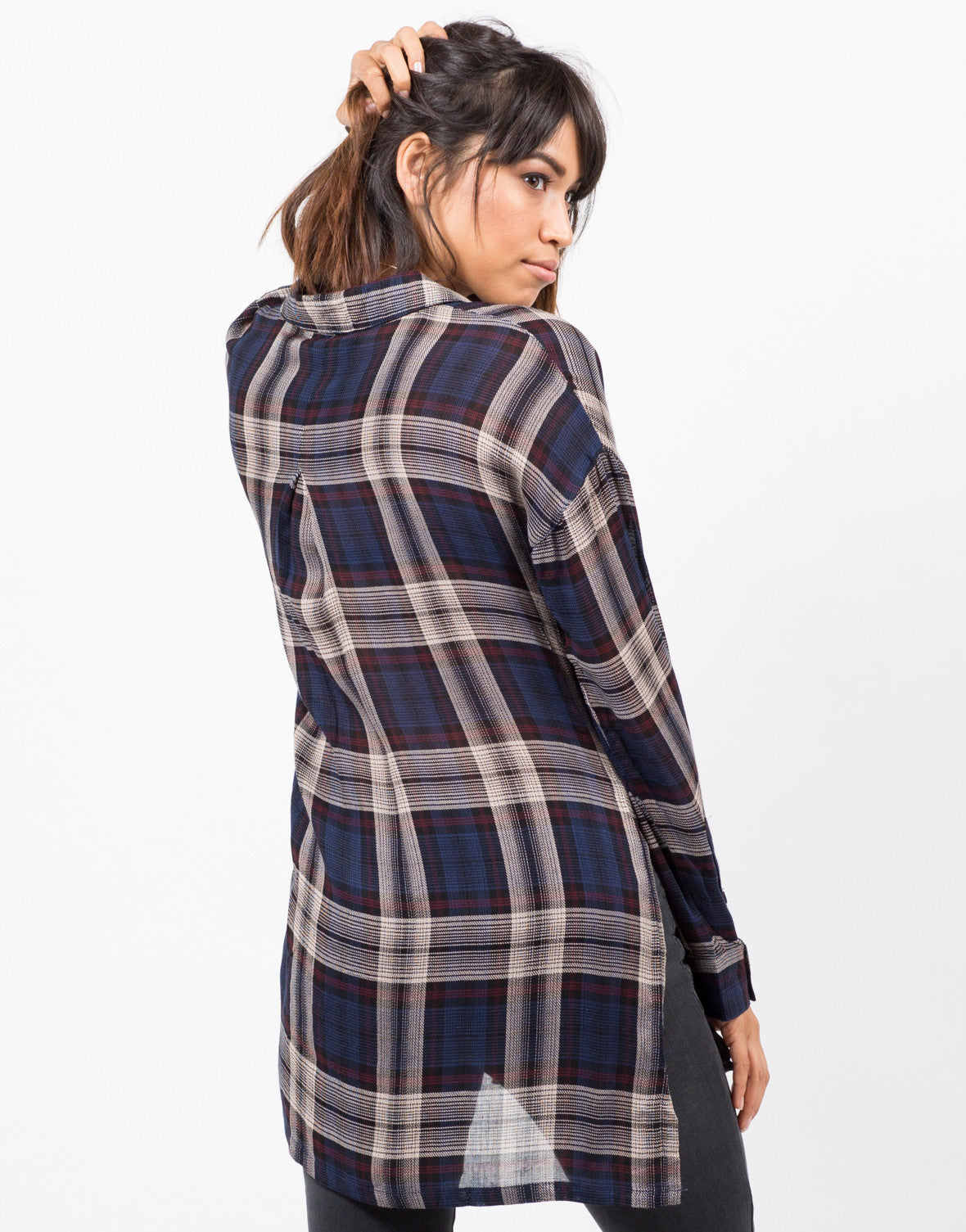 Back View of Sheer Plaid Blouse