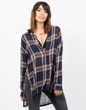 Front View of Sheer Plaid Blouse