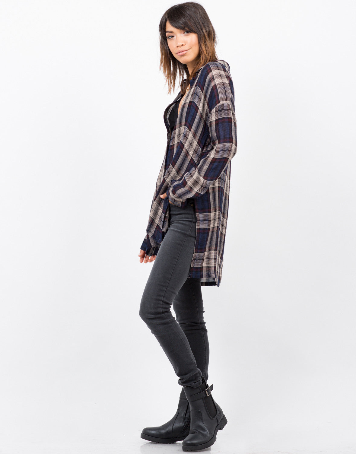 Side View of Sheer Plaid Blouse