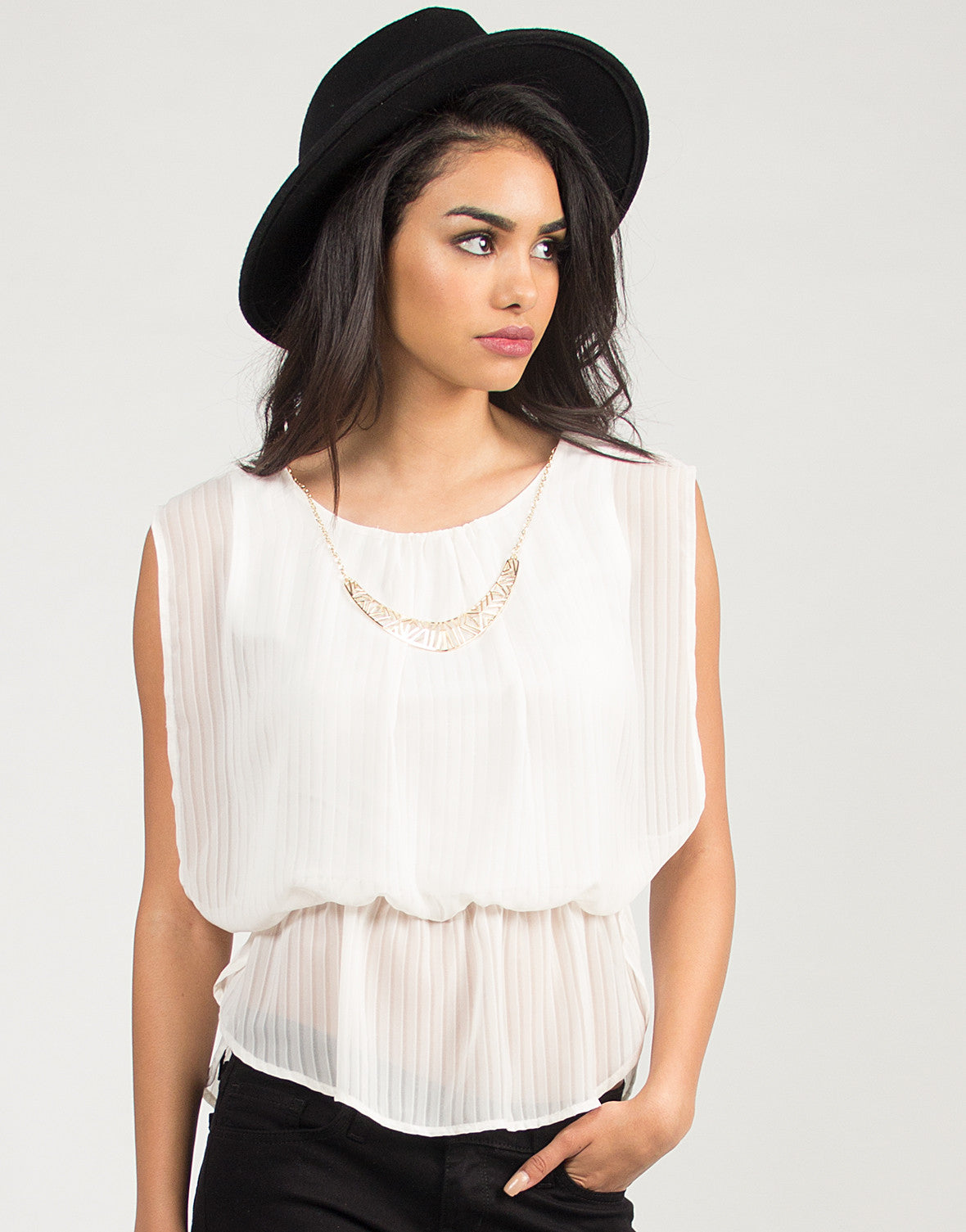 Sheer Striped Necklace Blouse