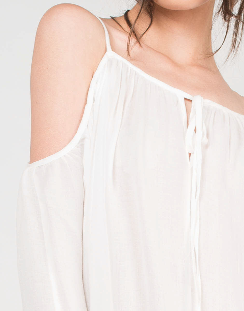 Sheer Tassel Cold Shoulder Top - 2020AVE