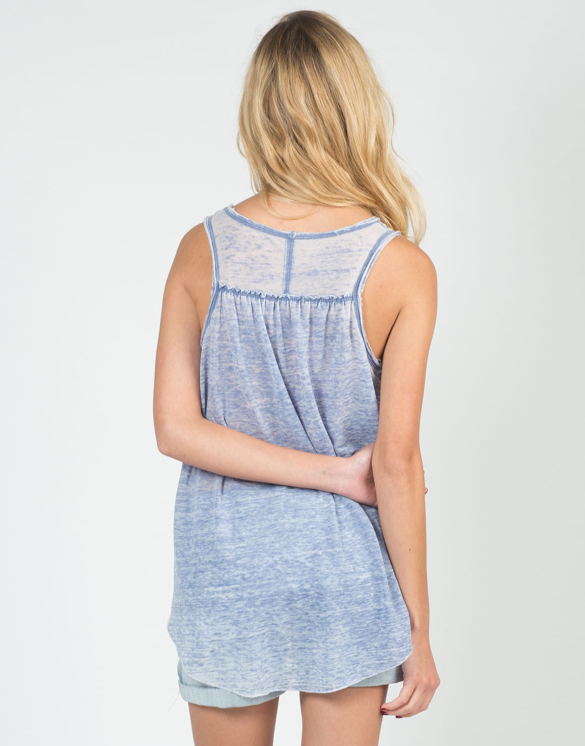 Back View of Sheer V-Neck Soft Tank