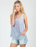 Front View of Sheer V-Neck Soft Tank