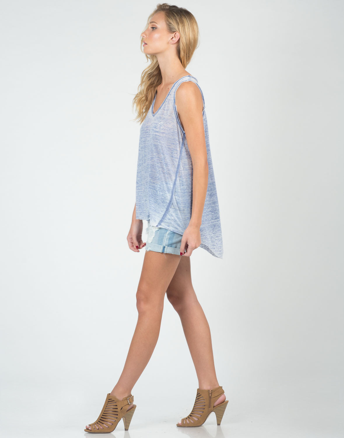 Side View of Sheer V-Neck Soft Tank