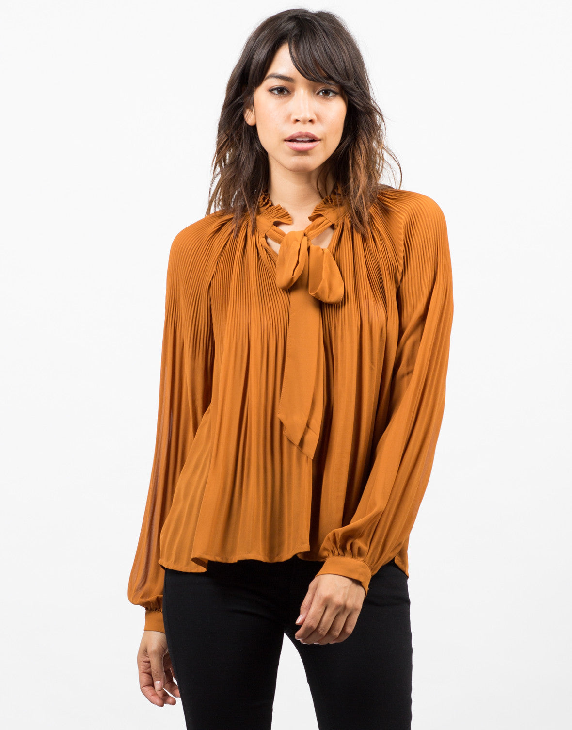 Front View of Sheer Woven Blouse