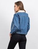 Back View of Sherpa Trucker Denim Jacket