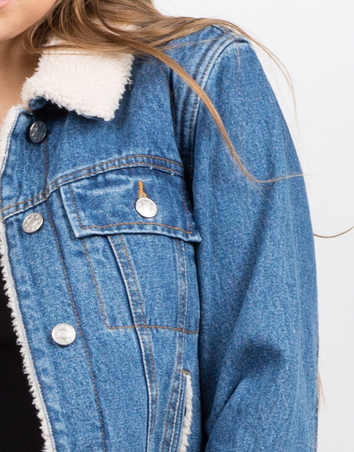 Detail of Sherpa Trucker Denim Jacket