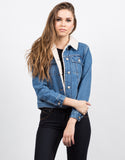 Front View of Sherpa Trucker Denim Jacket