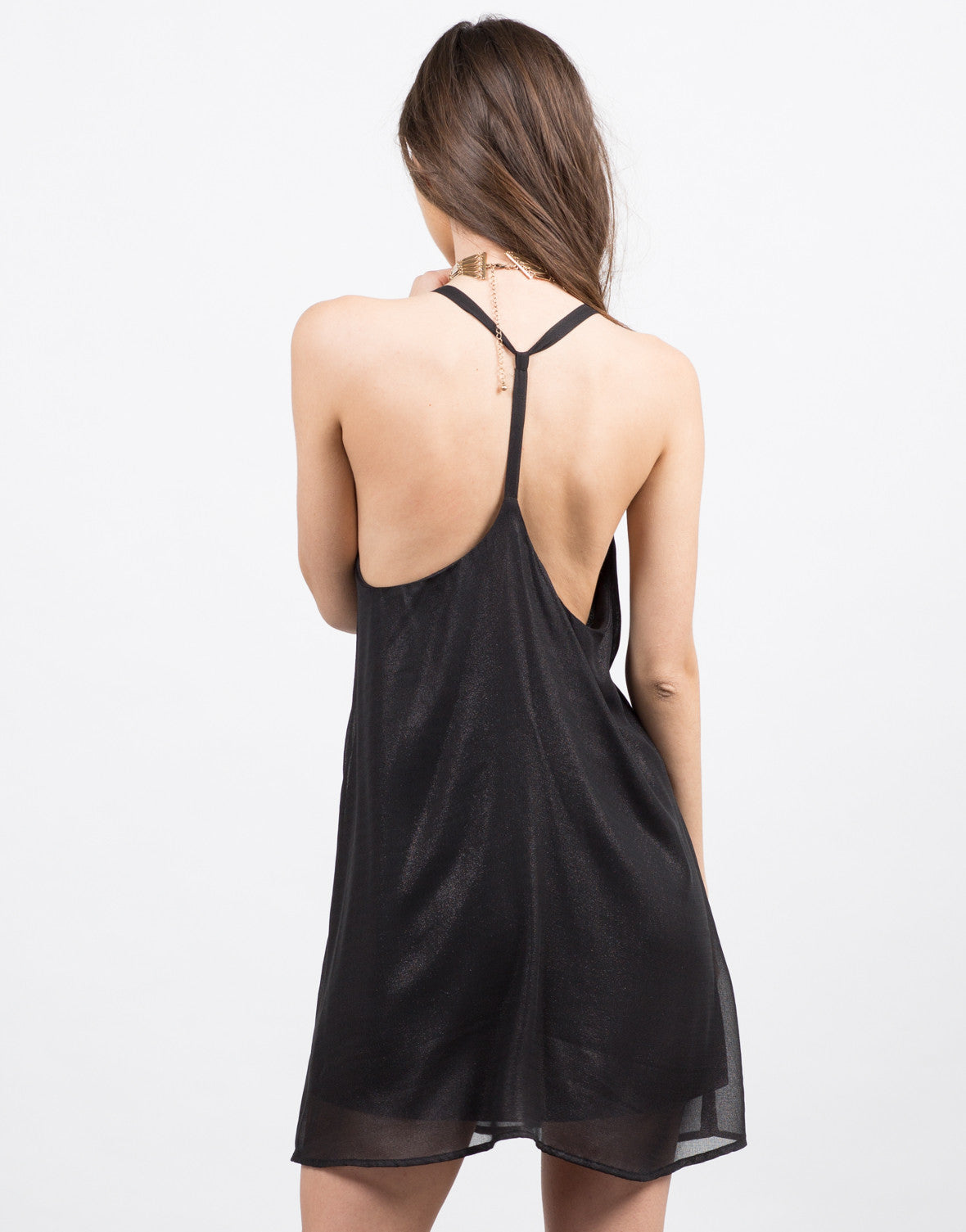 Back View of Shimmer Shimmer Party Dress