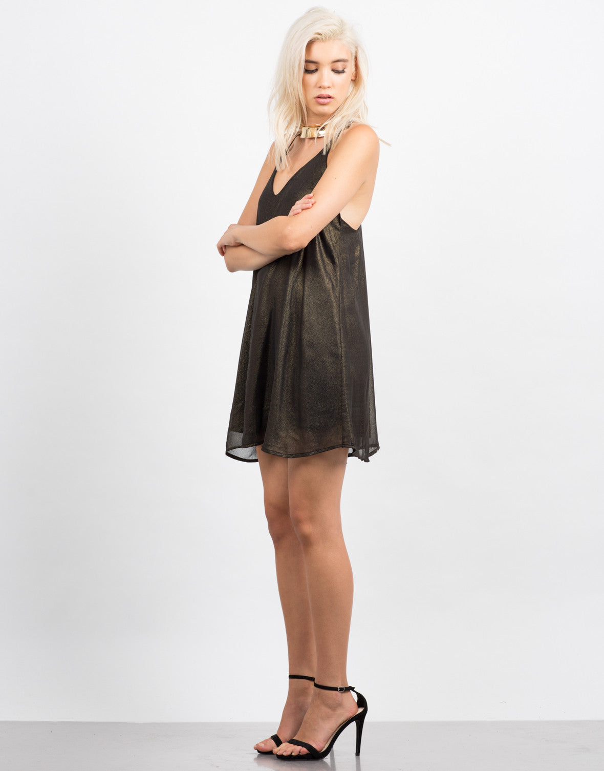 Side View of Shimmer Shimmer Party Dress