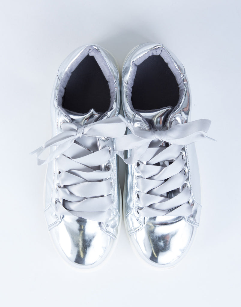 Shiny Metallic Sneakers