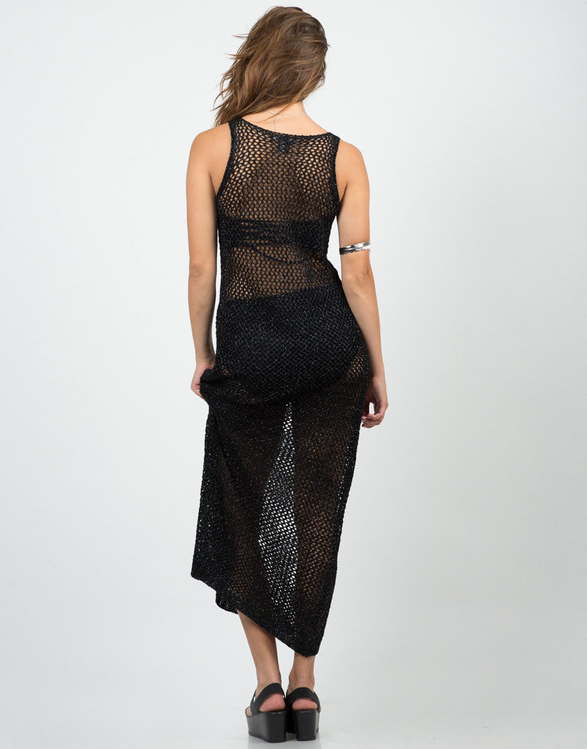 Back View of Shiny Netted Overlay Dress