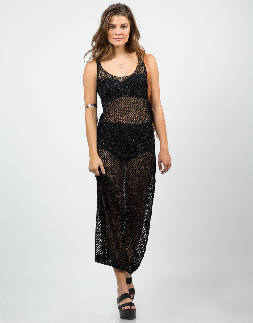 Front View of Shiny Netted Overlay Dress