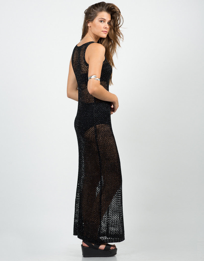 Side View of Shiny Netted Overlay Dress