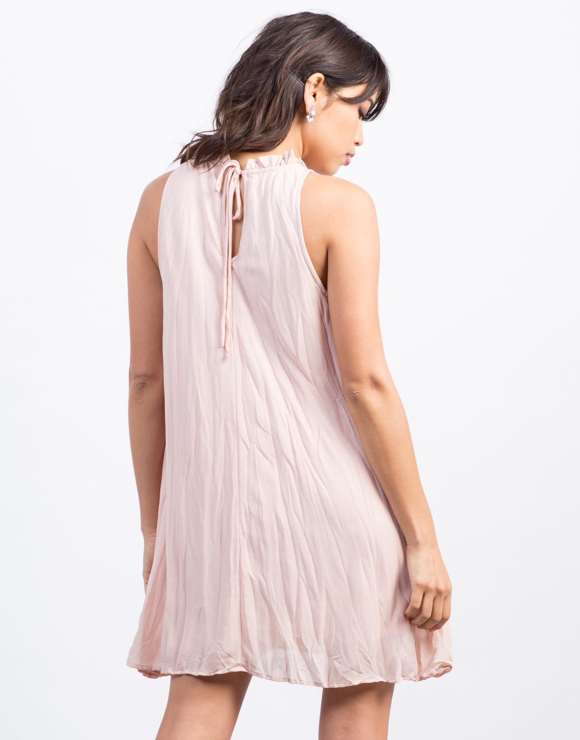 Back View of Shirring Neckline Dress
